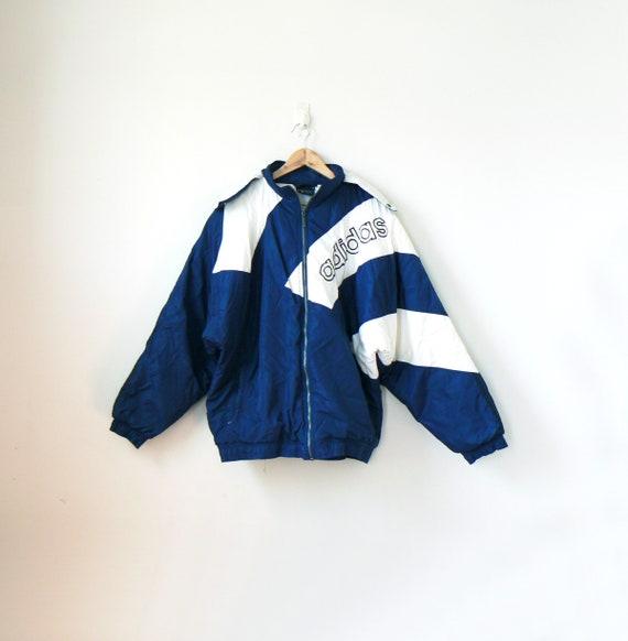 90er Jahre schwarze Adidas Jacke, blau Adidas Windbreaker