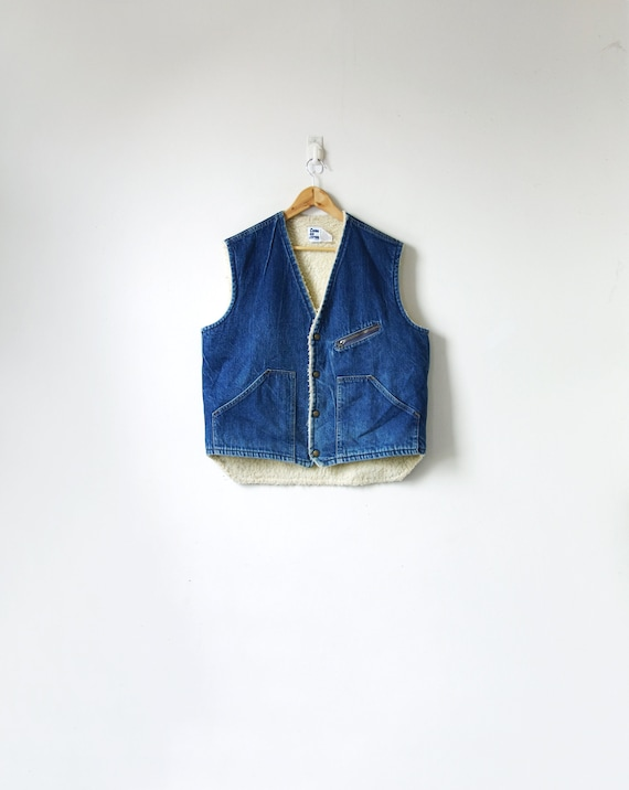 "70s Shearling-Lined Denim Vest by ""Come on Strong"""