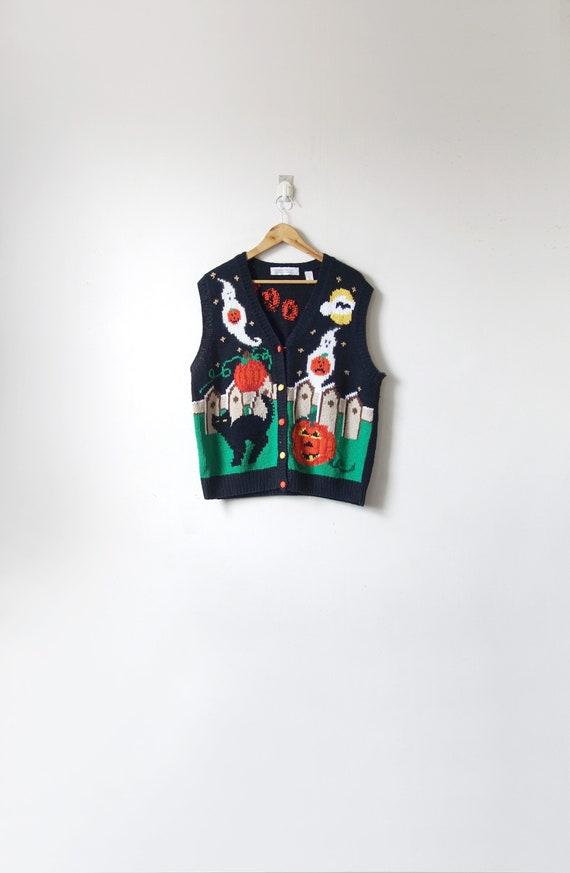 90s Kitschy Halloween Sweater Vest - Vintage Spook