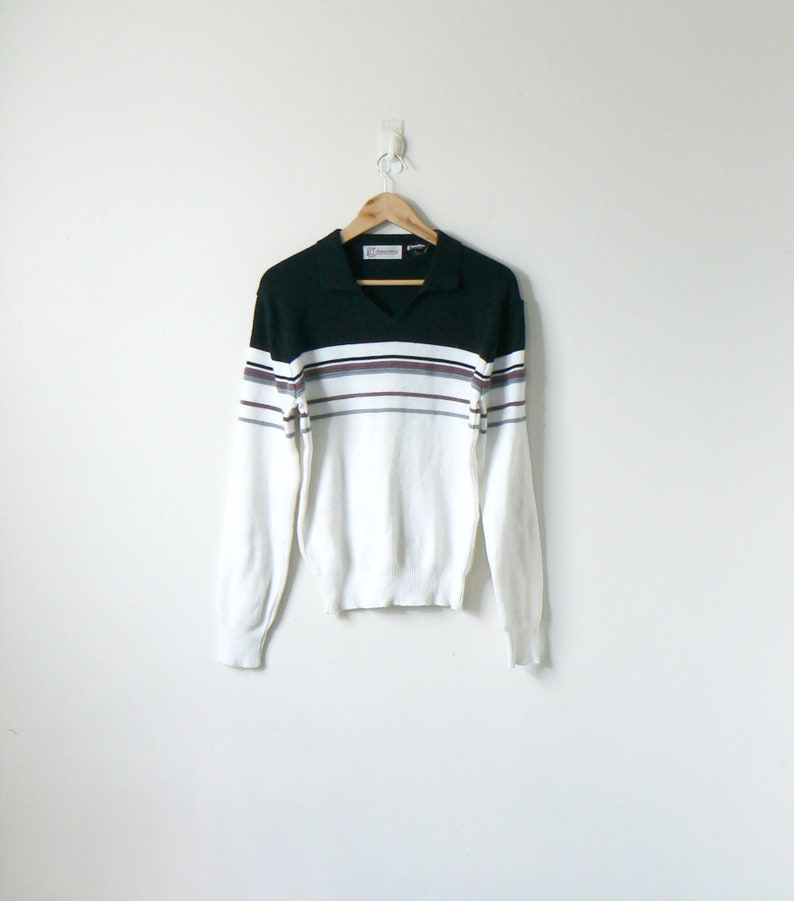 fc305d3a5 90s Black   White Striped Colorblock Sweater 90s Sweater