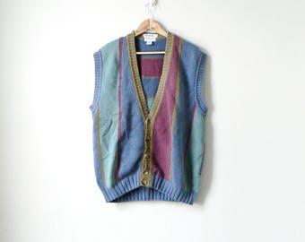 90s Hand Knit Colorblock Sweater Vest - Cosby Sweater 90s Sweater Vest Grandpa Sweater Vest Striped Blue Green Maroon Intarsia Men's M
