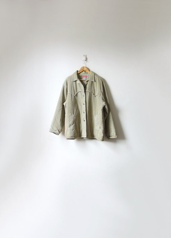 90s Beige Fleece-Lined Corduroy Field Jacket - Vin