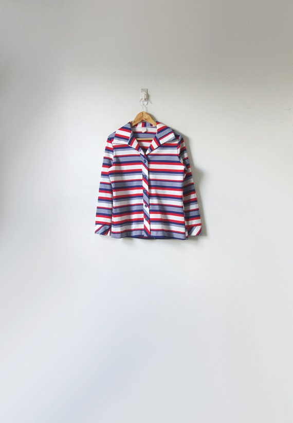 70s Red, Blue & White Striped Button Up Shirt - Vi