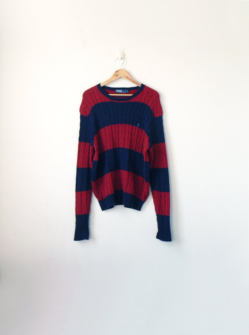 ace064b63 90s Red   Blue Ralph Lauren Polo Block Striped Sweater 90s