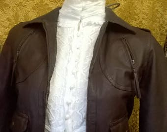 MISTRESS AMERICA Brown Leather Bomber Jacket Pilot Steampunk Cosplay 1940's style vintage look kbSPI4JtH