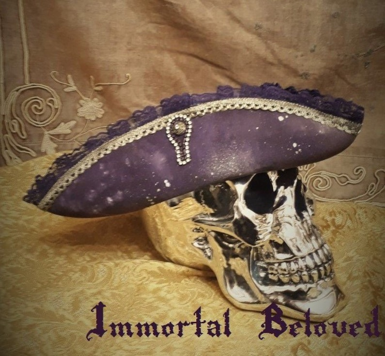 Spelljammer Tricorn Hat handpainted Cosmos vintage lace and old gold brocaide trim with swarovski crystals pirate cosplay