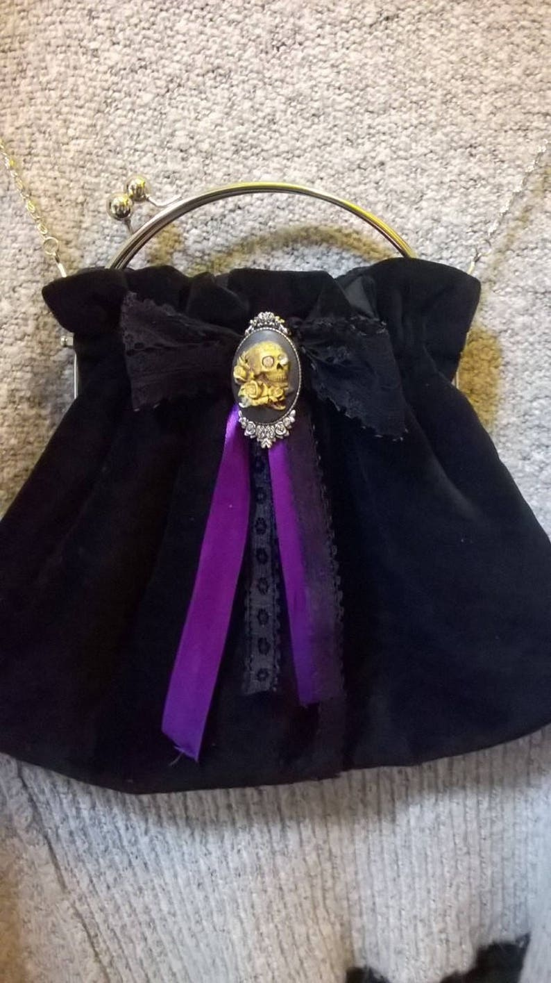 7082b8ea9 BLACKWINTER GOTHIC HANDBAG Velvet With Handmade Skull Cameo   Etsy