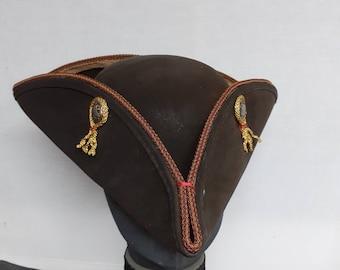 "FREE SHIPPING  ""SOUTHAMPTON"" tricorn hat, historic reenactment pinchfront unique tricorn"
