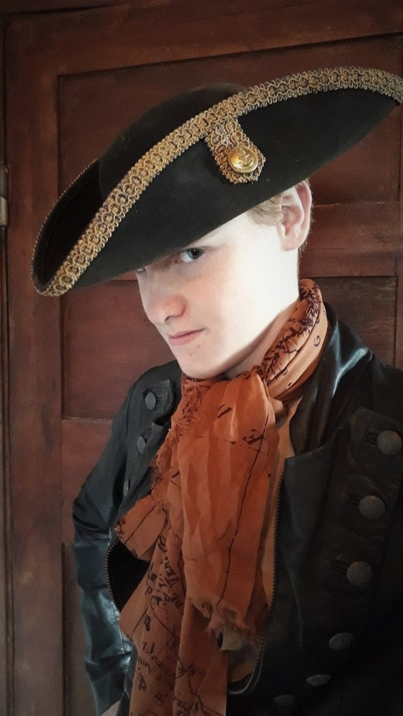 FREE SHIPPING Officer Sam Tricorn Hat Gorgeous sturdy Historic looking Film Quality authentic look reenactment vintage naval brass buttons