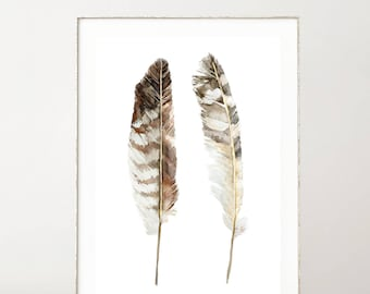 Boho Watercolor Feather Print, Printable Wall Art, Gold Feathers, Feather Poster, PDF, Farmhouse Decor, Best Selling Items, Trending Now
