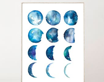 Moon Phase Watercolor Print Boho Wall Decor Wall Art Moon Print Blue Art Moons Poster Best Selling Items Extra Large Luna Wall Art