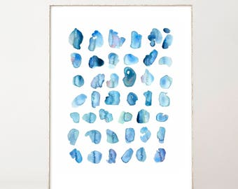 Abstract Watercolor Print Blue Abstract Art Modern Art Minimalist Modern Watercolor Wall Art Watercolor Spots Blue Watercolor Painting
