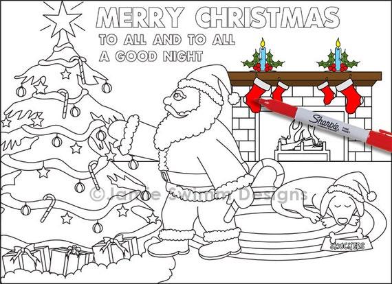 Santa para imprimir hoja de Color página Color Navidad | Etsy