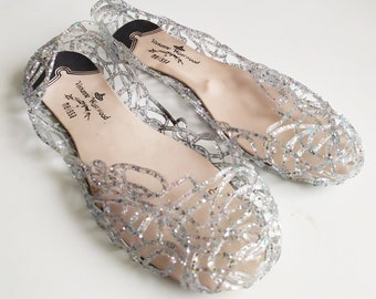 Vintage Jelly Shoes, Summer shoes, Clear jelly shoes, Womens jelly shoes, Cinderella shoes, Party shoes, Cinderella Costume shoes, 40