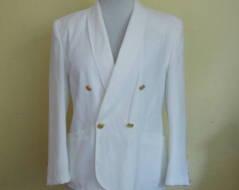 Vintage White Blazer, Womens Blazer, Boxy Blazer, Fancy blazer, White blazer, Dressy blazer, Suit blazer, Made in Denmark, White And Gold