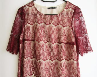 Vintage Lace Blouse, Lace top, Red lace blouse, Red lace top, Delicate lace blouse, Boho blouse, Feminine blouse, Dressy blouse, Fancy top