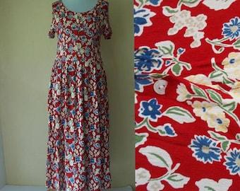 Vintage Floral dress. Vintage red dress. 80s dress, Long floral dress, Red floral dress, Vintage dress, Button down dress, Size M