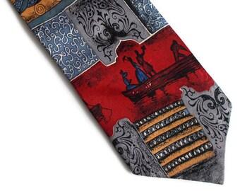 Vintage Mens Necktie, Mens necktie, Gift for him, Red necktie, Necktie, Romantic necktie, Patterned necktie, Vintage necktie
