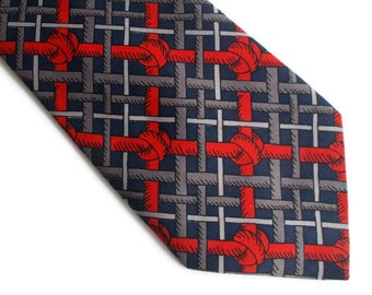 Vintage Mens Necktie, Patterned necktie, Gift for him, Red and blue necktie, Classic necktie, Mens necktie, Red necktie