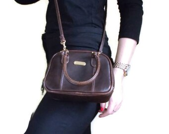 Vintage Brown Handbag, Faux leather bag, Mini handbag, Vintage Crossbody bag, Top handle bag, Brown bag, Retro handbag, Vintage purse,