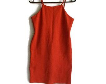 90s tight mini dress, scuba dress, fitted mini dress, orange dress, cocktail dress, tight dress, fitted dress, mini dress, size XS