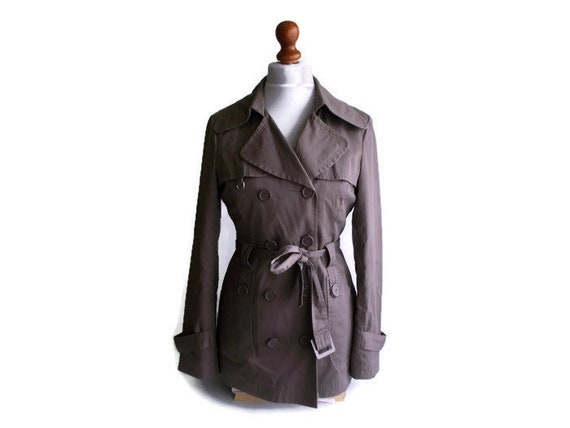Vintage Trench Coat, Taupe trench coat, Womens tre