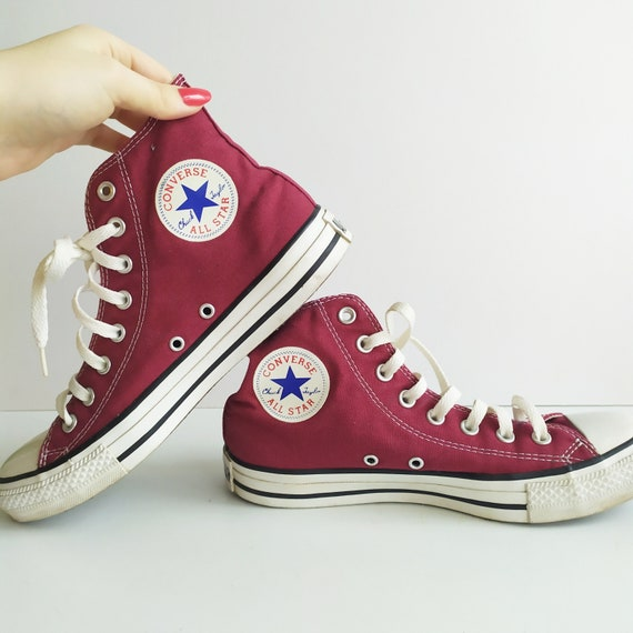 Vintage Converse, Red High Top Chuck Taylor Shoes,