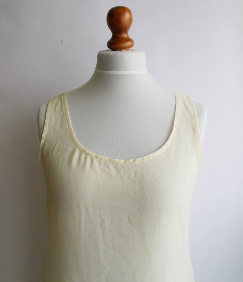 Summer top Vintage Sheer Top See through top M Yellow sheer top womens sheer Sleeveless sheer top Sheer blouse See through blouse