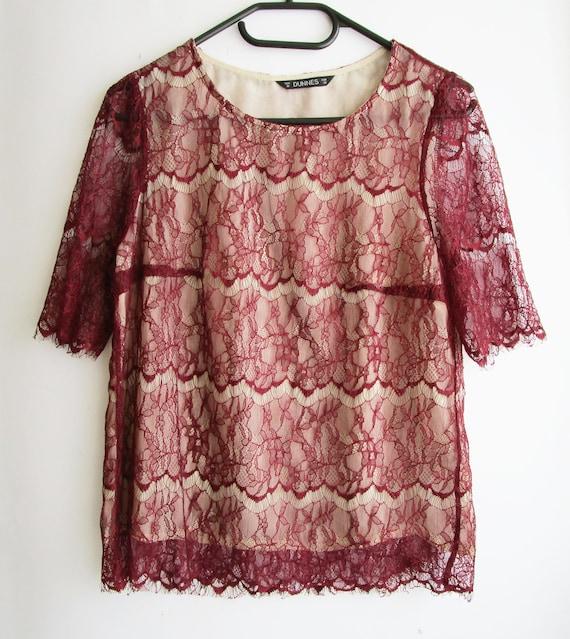Vintage Lace Blouse, Lace top, Red lace blouse, Re