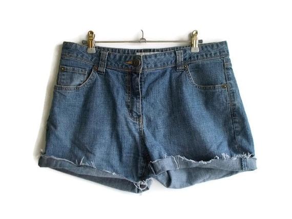 Vintage Denim Shorts, dunkle waschen Jeans Shorts, Damen Shorts, Jean Shorts, Cut off Denim Shorts, Womens Jeansshorts, dunkle Waschen Denim, Größe L