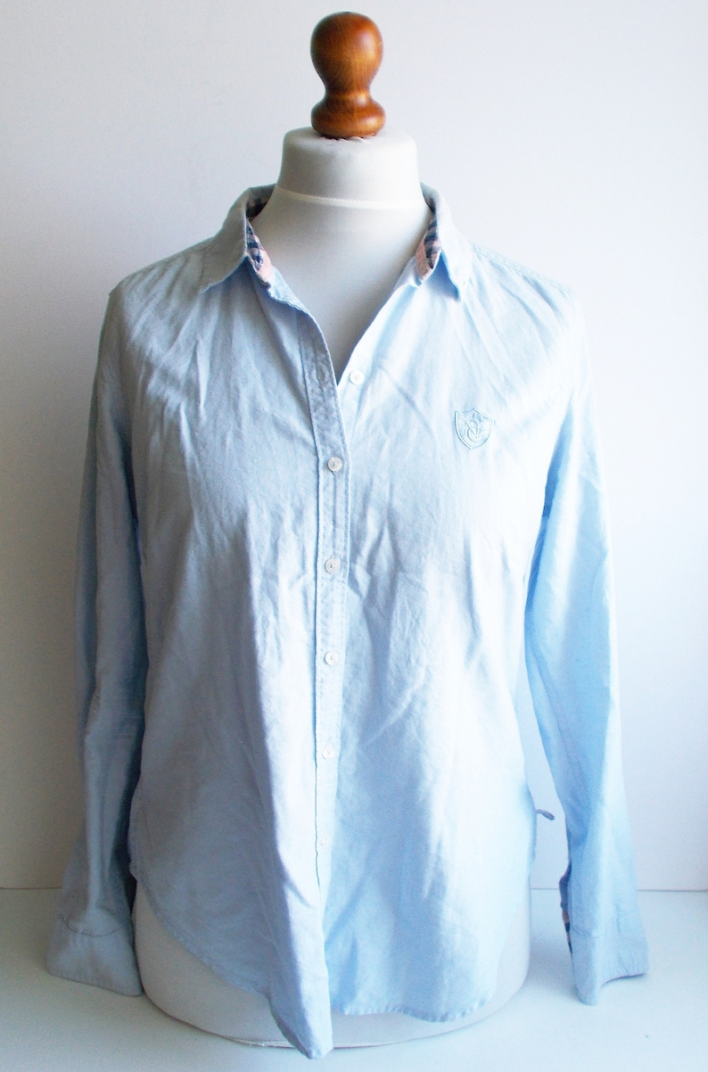 fbd9142a0e Vintage Blue Shirt Womens blue shirt light blue shirt | Etsy
