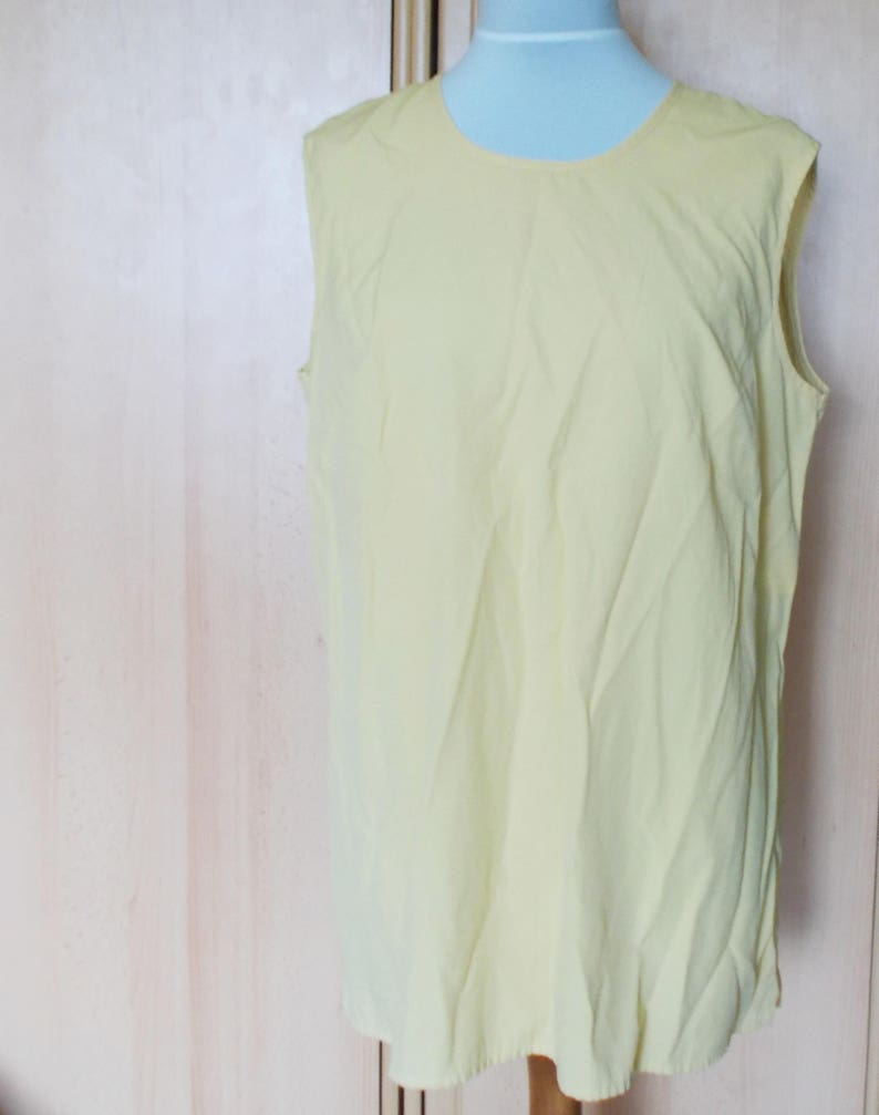 ca06f4686a8f Vintage Yellow top simple blouse sleeveless top summer