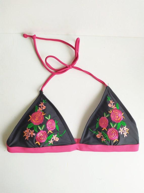 Vintage Bikini, Floral bikini, Embroidered bikini,