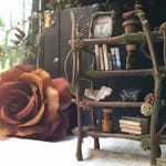 Faery Bookshelf 16 piece set with crystals and accessories - miniature ooak fairy furniture, shelf - handmade by thefaeryforest