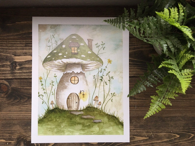 8 x 10 Mushroom Art Print  original artwork by thefaeryforest image 0