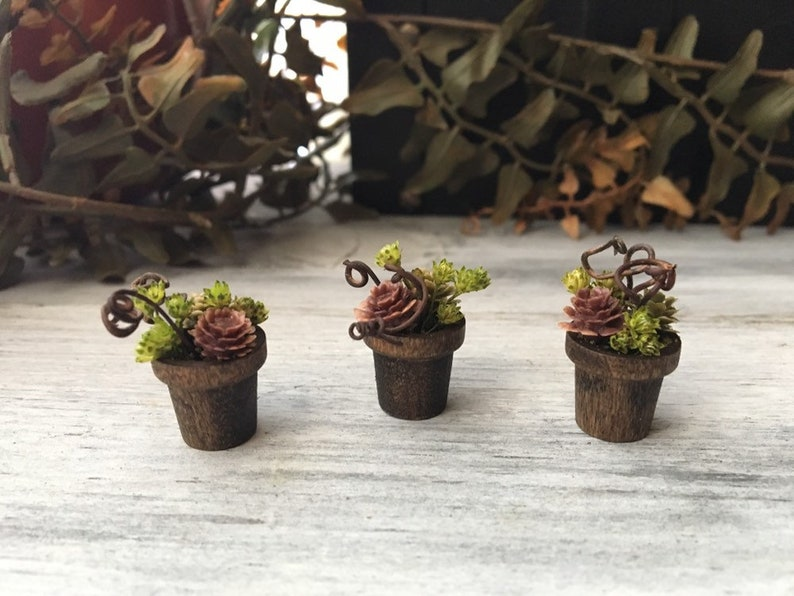 Faery Flower Pots Set of 3  miniature flower pots fairy image 0