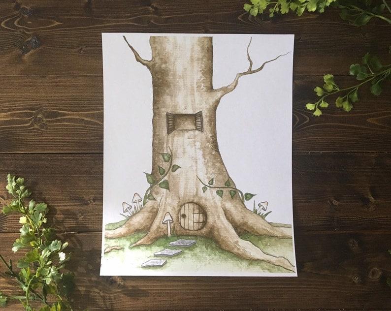 DISCOUNTED PRICE 8.5 x 11 Digital Art Print Faery Treehouse  image 0