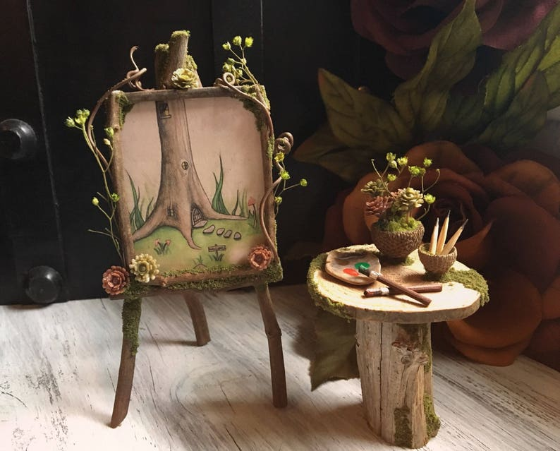 Faery Artist Painting Set  miniature fairy furniture fairy image 0