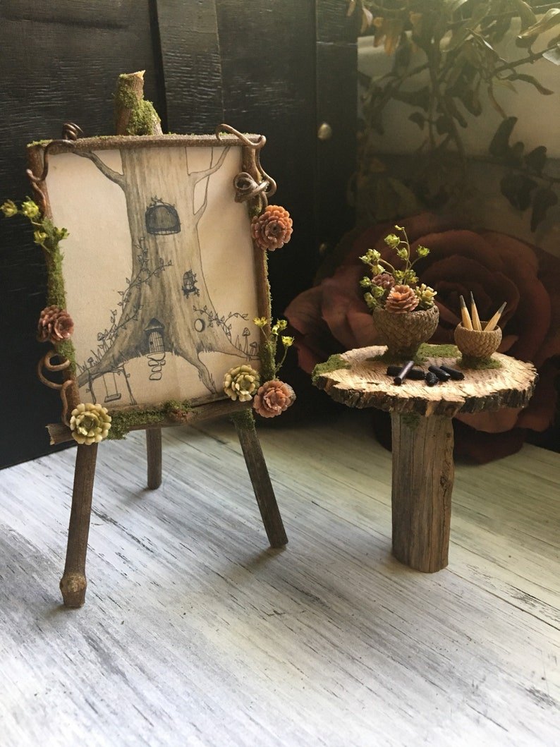 Faery Artist Drawing Set  miniature artist set and easel image 0