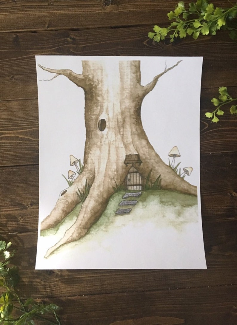 DISCOUNTED PRICE 8.5 x 11 Digital Print Faery Treehouse  image 0