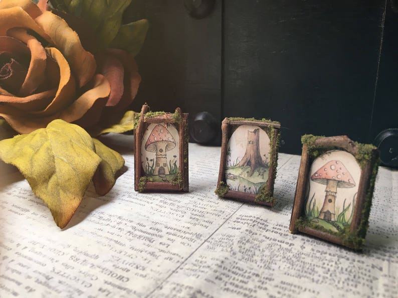 3 Faery Picture Frames  miniature fairy furniture fairy image 0