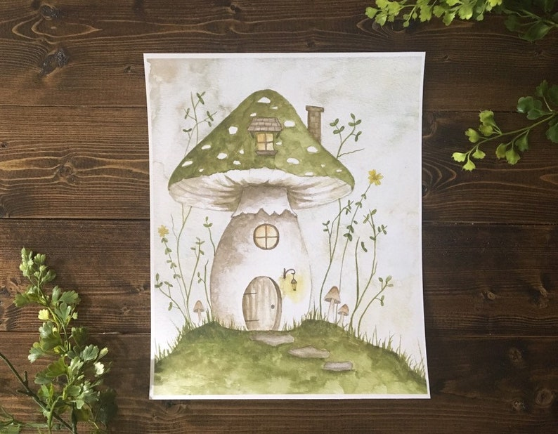 DISCOUNTED PRICE 8.5 x 11 Digital Art Print Faery Mushroom image 0