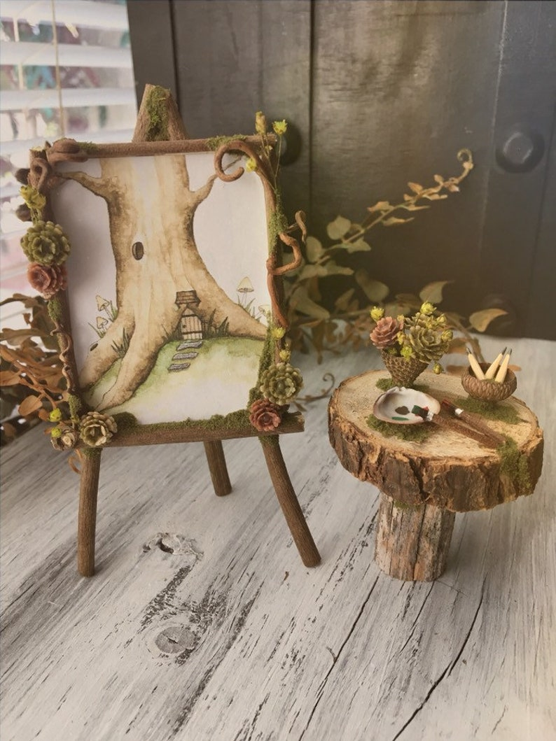 Faery Artist Painting Set  miniature artist set easel fairy image 0