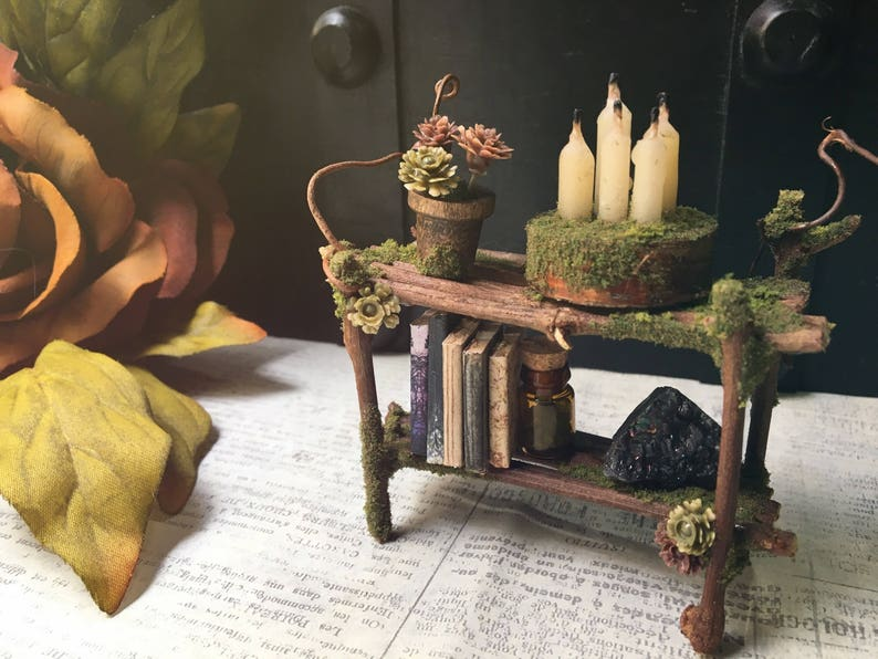 Faery Bookshelf  miniature fairy furniture fairy shelf image 0