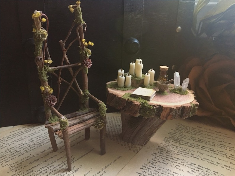 Faery Altar Table and Chair  miniature altar fairy image 0