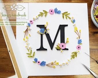 Leaf wreath with M