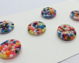 Rainbow Sprinkle Buttons! Pack of 6, 12mm