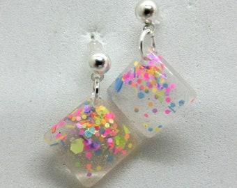 Colorful Clear Resin Confetti Earrings / diamond shaped / bright colorful earrings / neon earrings / clear dangle earrings / transparent