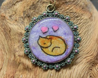 Sleeping cat Necklace//Pendant//purple//Orange//hearts//cartoon//illustration//cute//gifts for cat lovers//animals//pets