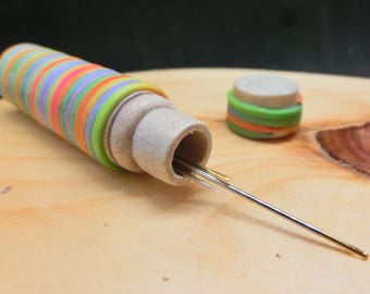 Multi colored clay stripes, wooden Needle Case